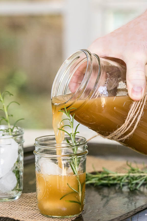 Thanksgiving dinner menu - apple rosemary whiskey cocktail from Sidewalk Shoes