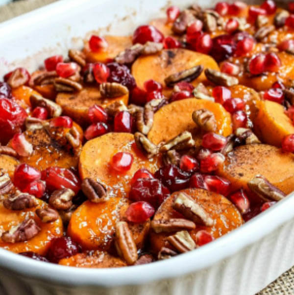 Thanksgiving dinner menu - cranberry sweet potato casserole from Homemade Interest