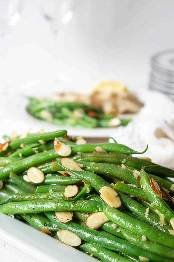 Thanksgiving dinner menu - green bean almandine from Beyond the Chicken Coop