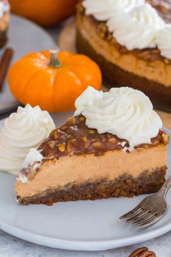 Thanksgiving dinner menu - pecan pie pumpkin cheesecake from Sweet and Savory Meals