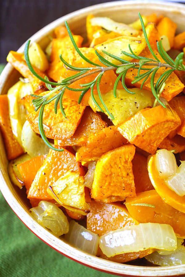 Thanksgiving dinner menu - roasted sweet potatoes, squash and apple from Happiness is Homemade