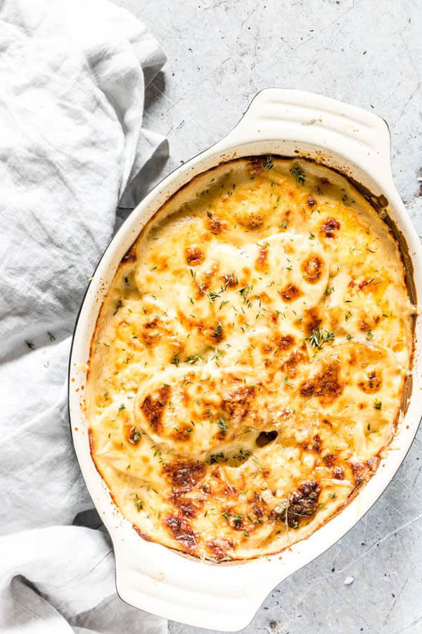 Thanksgiving dinner menu - scallop potatoes from Recipes from a Pantry