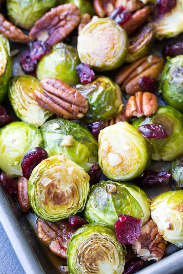 Thanksgiving dinner menu - maple balsamic roasted Brussels sprouts from Kristine's Kitchen