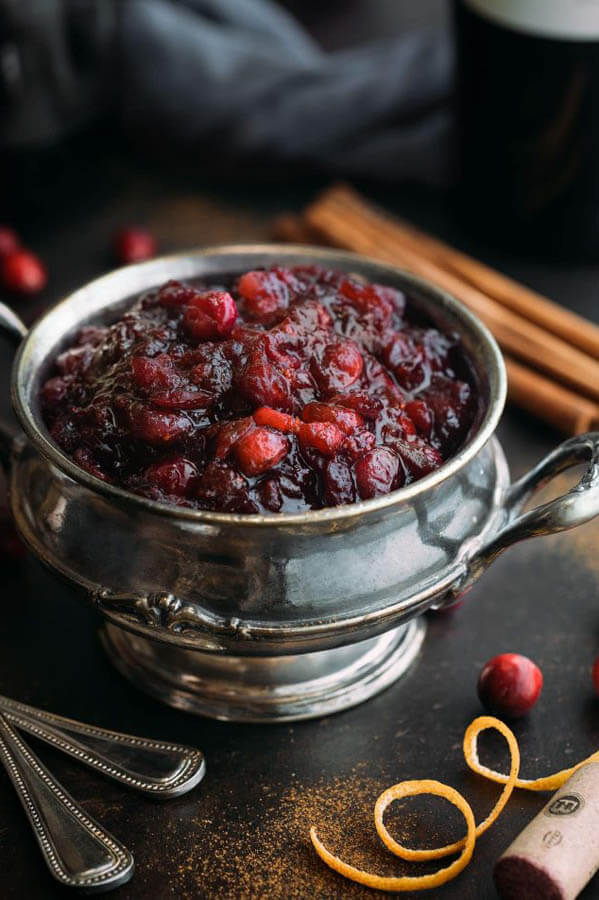 Thanksgiving dinner menu- mulled wine cranberry sauce from Striped Spatula