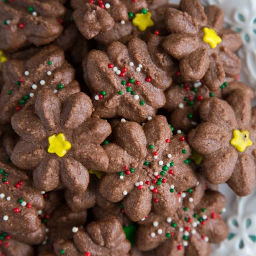 A plate full of Chocolate Spritz Cookies