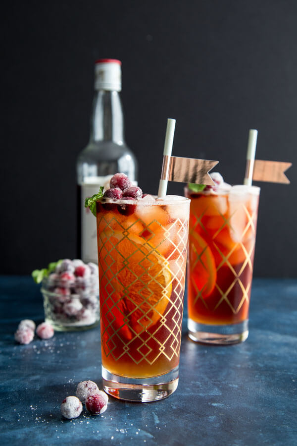 Cranberry Pimm's Cup cocktails in highball glasses