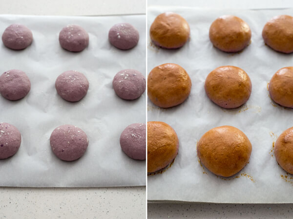 Purple Sweet Potato Dinner Rolls dough and after baking