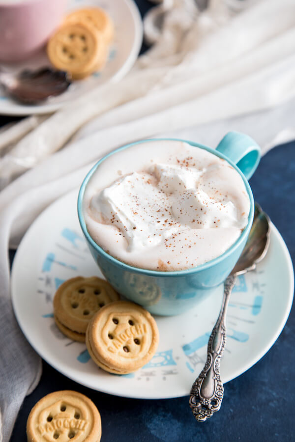 Homemade Hot chocolate with whipped cream and spices
