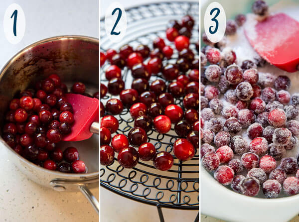 How to make sugared cranberries steps 1 - 3
