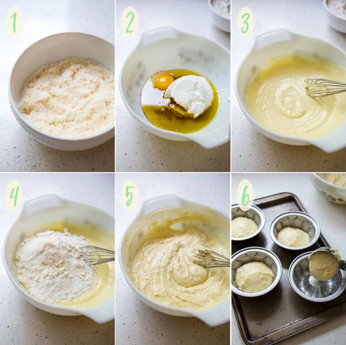 Collage of 6 photos showing how to make the tangerine cake batter
