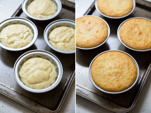 Unbaked and baked Tangerine Olive Oil Cake in mini bundt pans