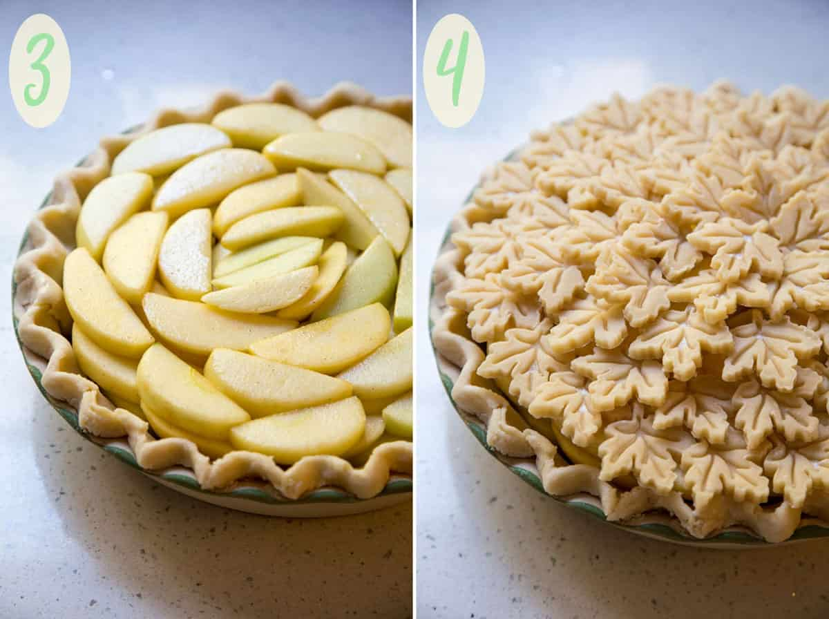 Arranging apple pie filling and top crust before baking