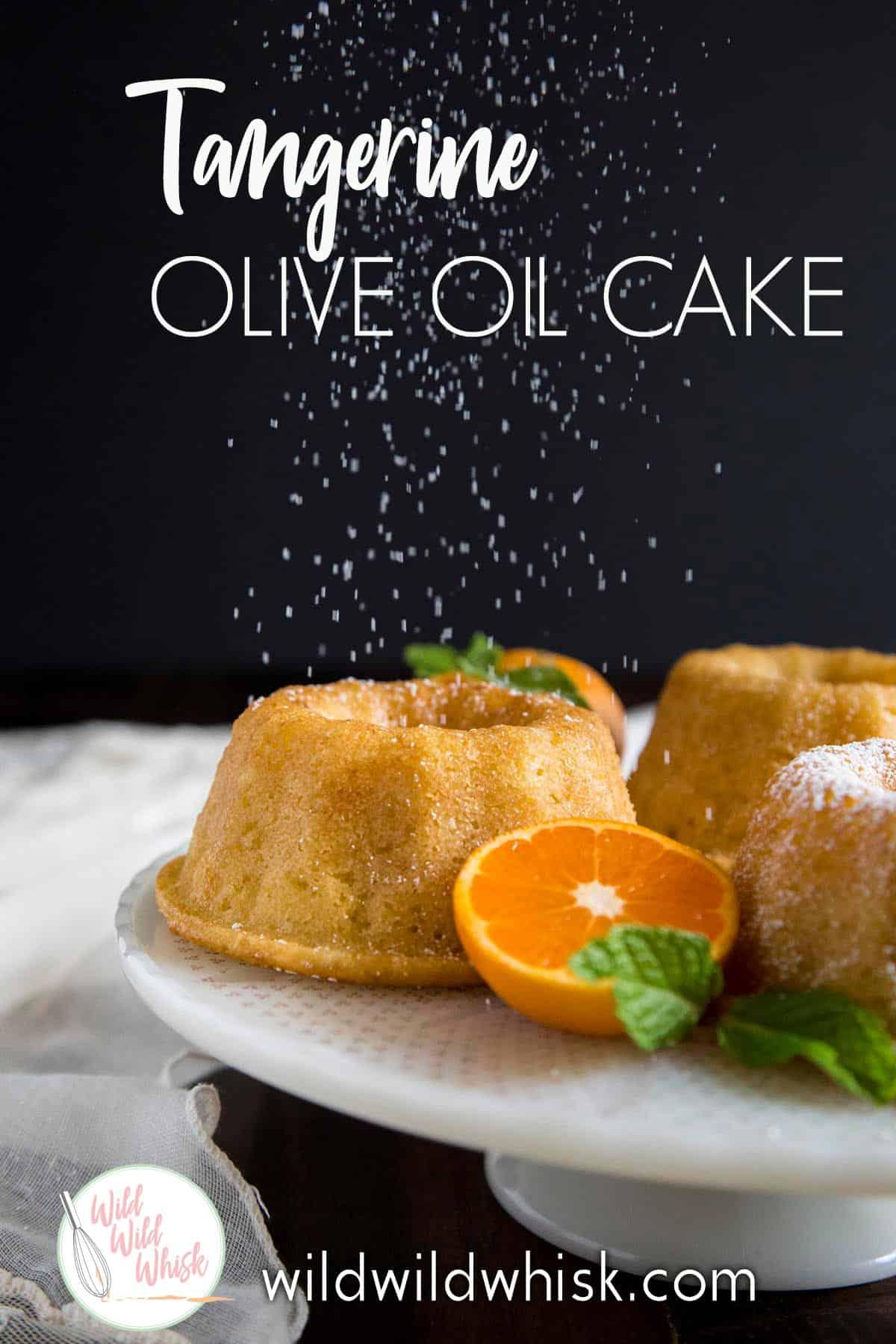 Tangerine Olive Oil Cake is baked in mini bundt pans to yield soft, moist an refreshing tangerine bundt cakes. #wildwildwhisk #oliveoilcake #bundtcake #cake #tangerine #cakerecipe #tangerinecake #citruscake #simpletangerinecake #easybundtcake #bundtcakerecipes #minibundtcakes