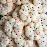 Almond Spritz Cookies in a pile