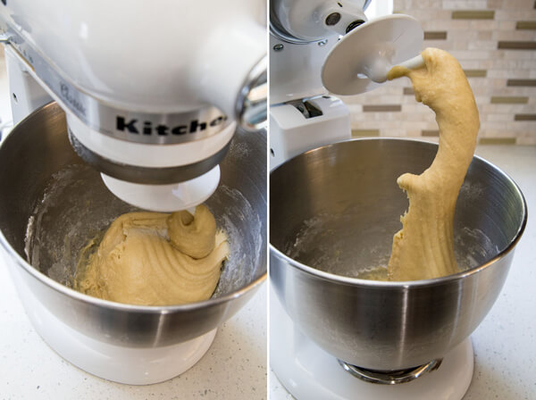 Challah bread dough forming in a stand mixer