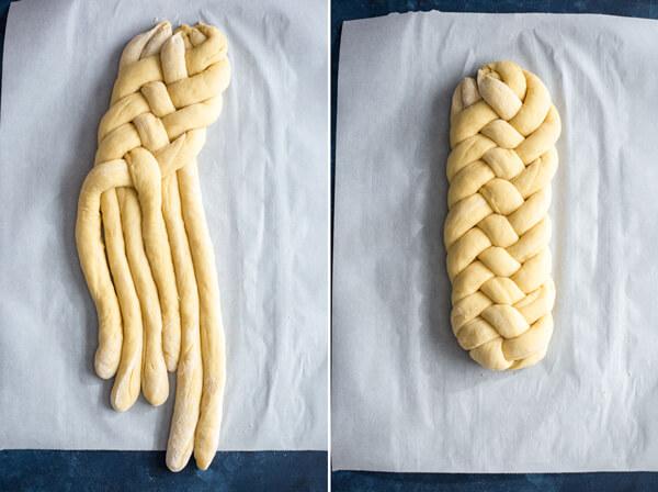 Braiding Challah bread dough into a loaf