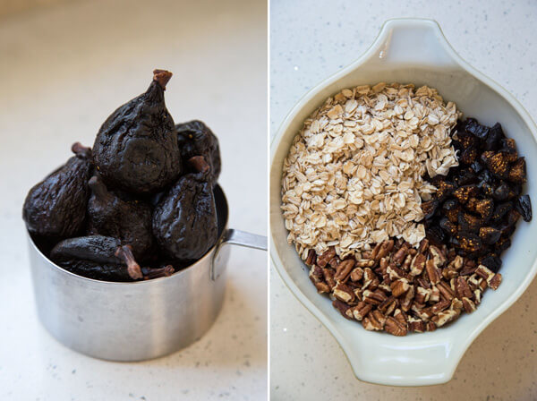 Dried figs and ingredients to make Chewy Oatmeal Fig Cookies