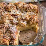 Coconut French toast casserole in a glass baking dish