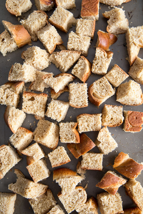 Stale bread cubes for Coconut French Toast Casserole