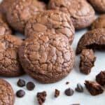 Dark Chocolate Brownie Cookies on a baking sheet
