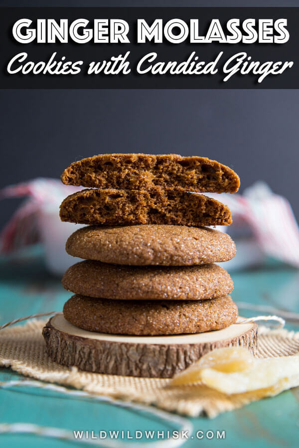 These are the best Ginger Molasses Cookies recipe you will ever need for Christmas and beyond. These cookies are soft and so easy to make. They even have candied ginger mixed in for that extra gingery goodness. #wildwildwhisk #molassescookies #molassescookierecipe #ginger #molasses #gingercookies #gingercookieschristmas #christmascookies #christmascookieexchange #christmascookierecipe