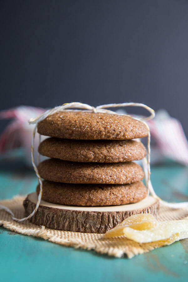 A stack of Ginger Molasses Cookies tied up with a string