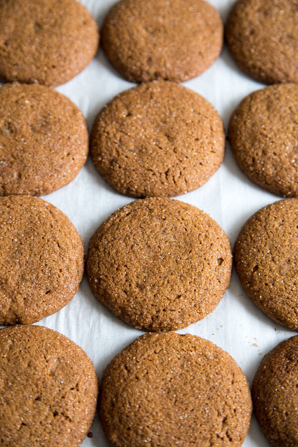 Ginger Molasses Cookies on a baking tray