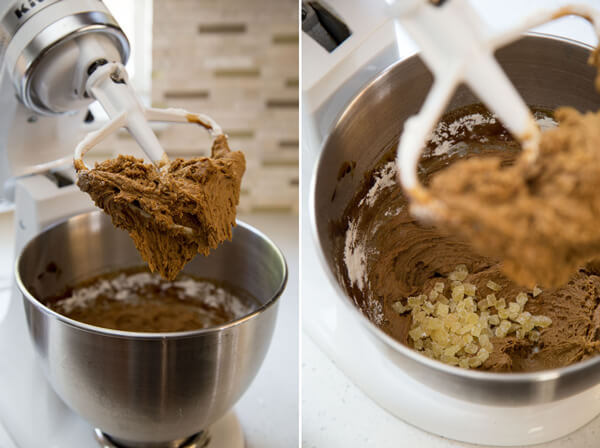 Making Ginger Molasses Cookies dough with candied ginger