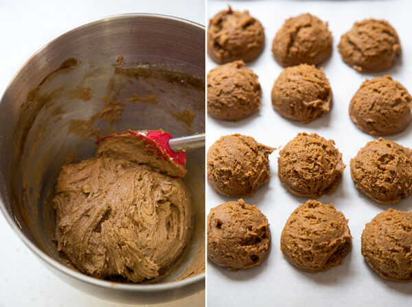 Giving Ginger Molasses Cookies dough one last stir and portion with a cookie scoop