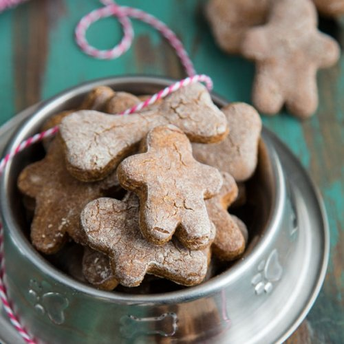 Gingerbread Dog Treats in a dog bowl