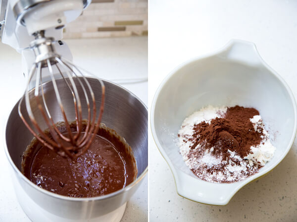 Adding chocolate mixture and dry ingredients to make Dark Chocolate Brownie Cookies