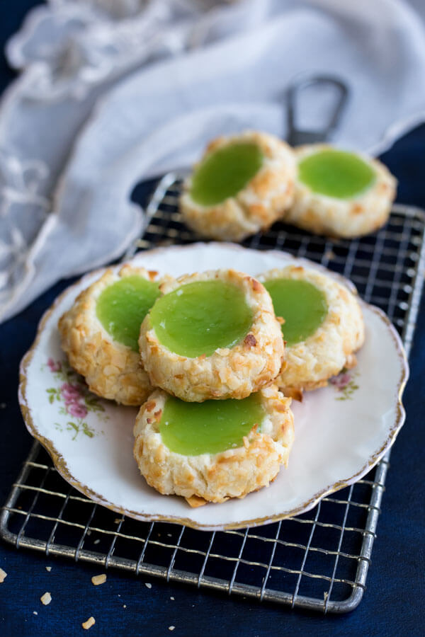 Pandan Coconut Thumbprint Cookies on a plate
