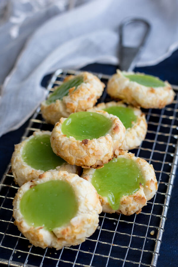 Pandan Coconut Thumbprint Cookies on a grater