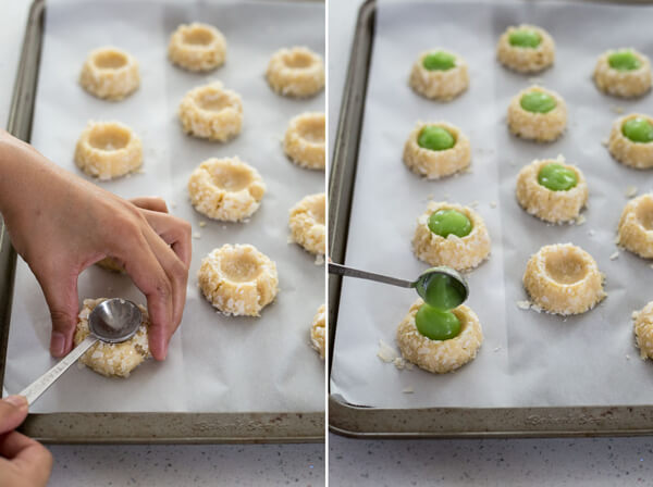 Making indentation and filling Pandan Coconut Thumbprint Cookie dough with pandan coconut curd