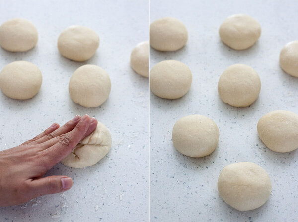 Anpan or Japanese Red Bean Bun dough divided into 8 portions