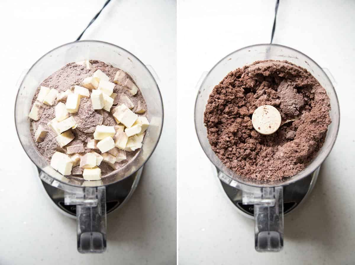 Processing the ingredients in a food processor to make chocolate pie crust