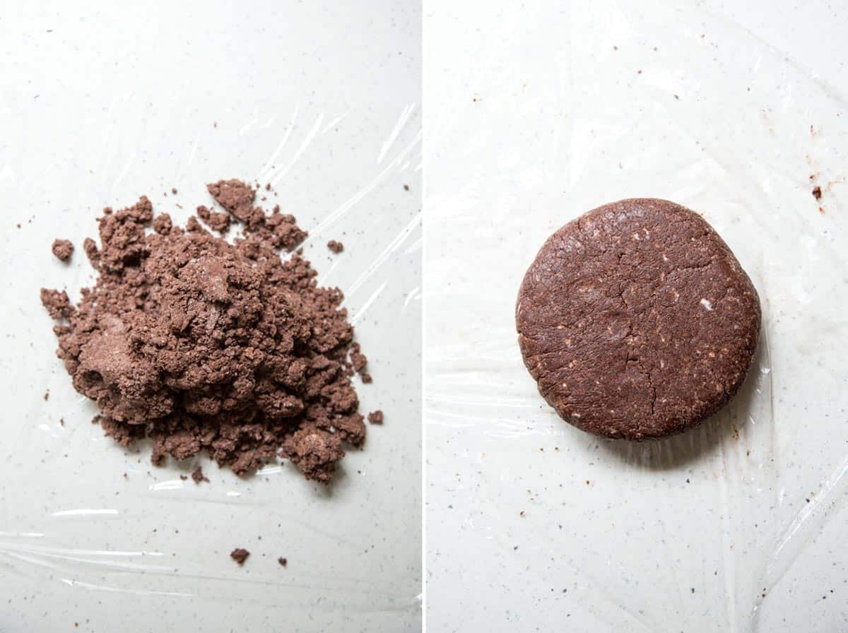 Shaping the dough for chocolate pie crust