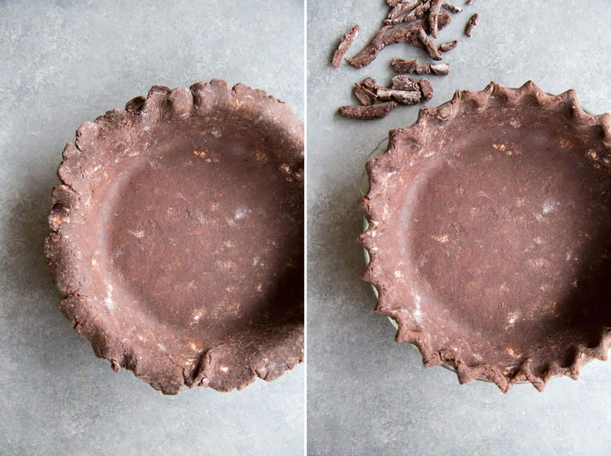 Making chocolate pie crust in a traditional pie dish