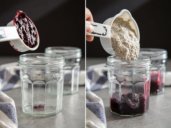 Adding fruit compote and coconut chia pudding to glass jars