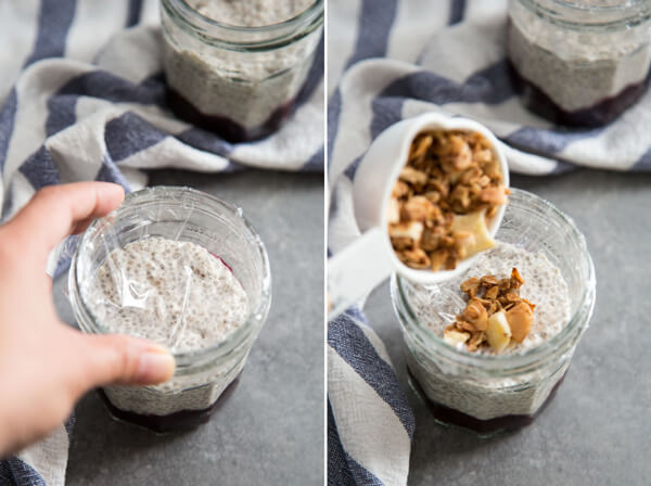 Adding plastic wrap on top of coconut chia pudding and then adding granola