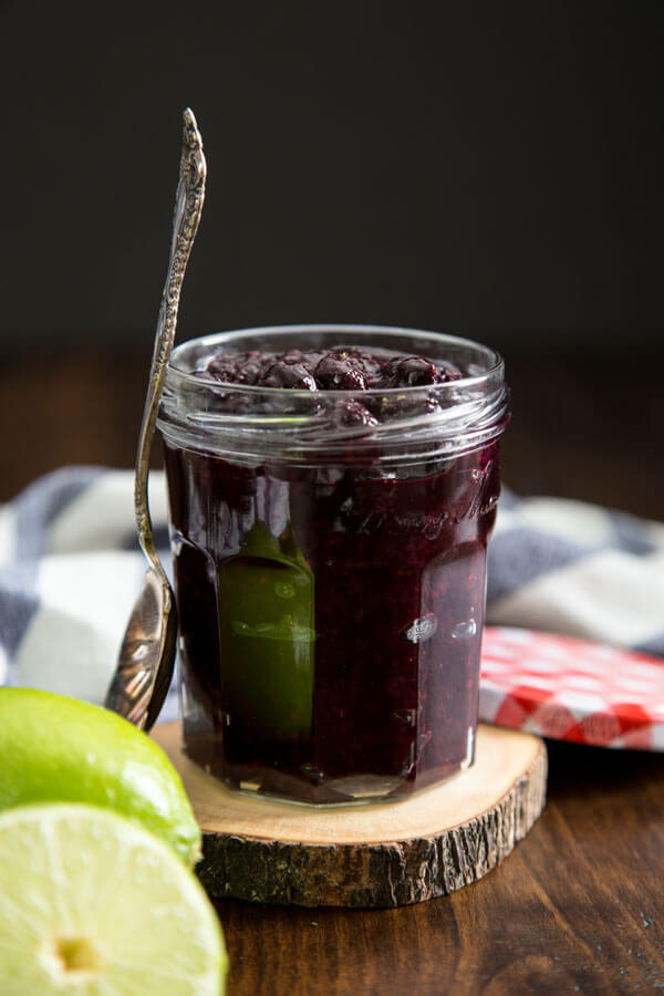Mixed berry compote in a jar
