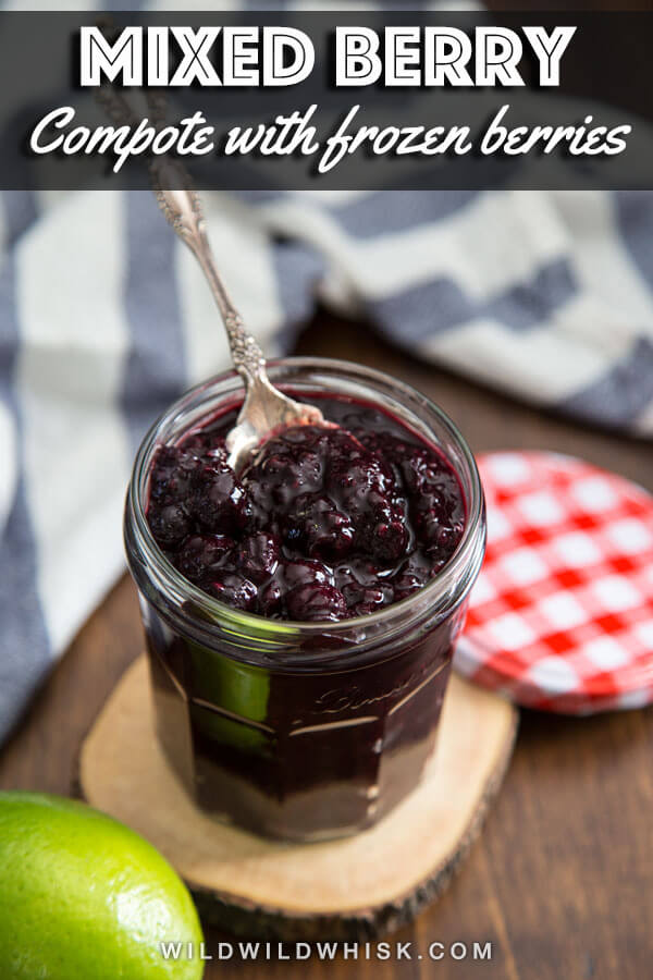 This Mixed Berry Compote is made with frozen berries and coconut sugar. It's an easy recipe that takes just 10 minutes, perfect for topping pancakes and french toast. #wildwildwhisk #compote #berry #berryrecipes #breakfastideas #breakfast #berrysauce #frozenberries #coconutsugar