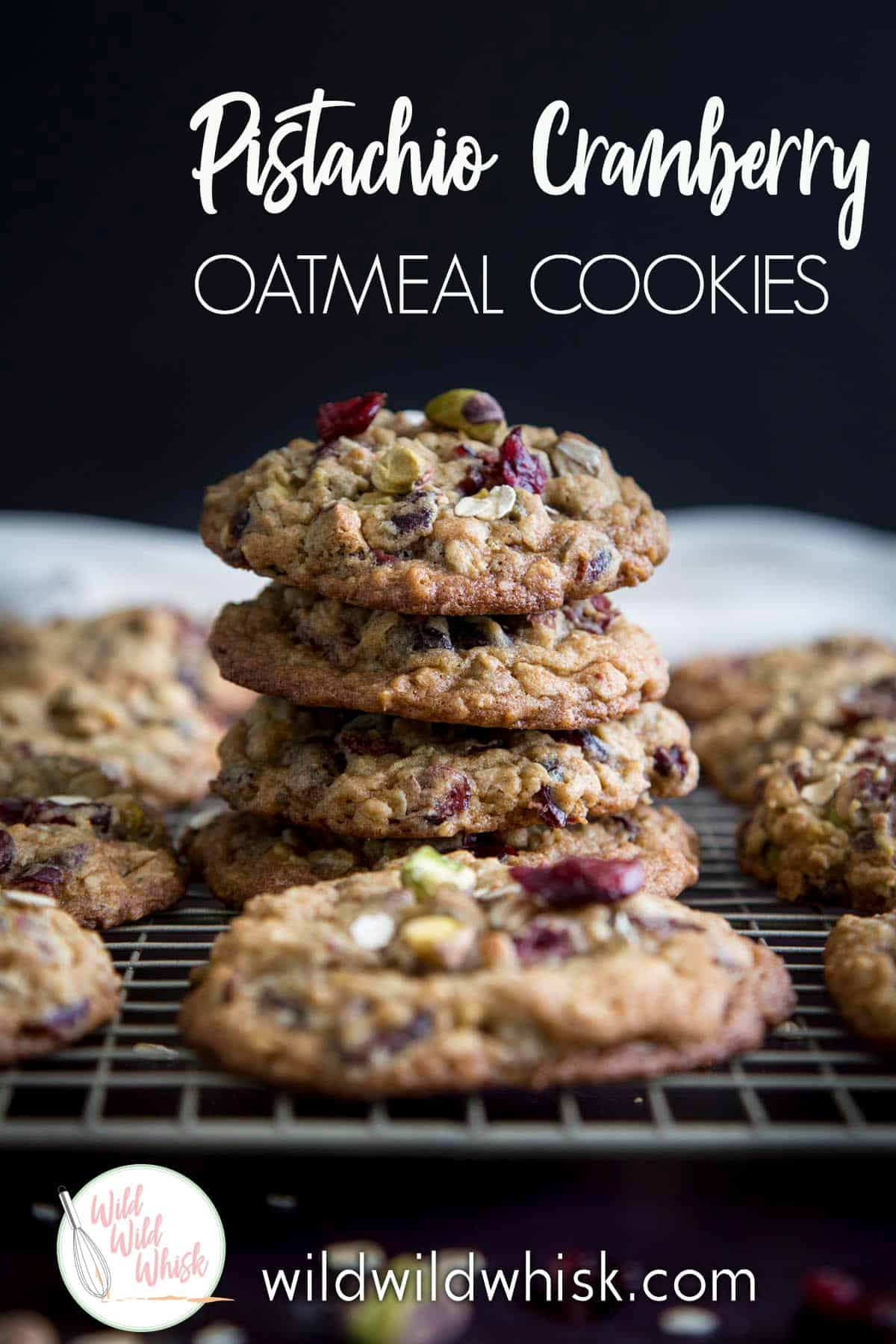 These Pistachio Oatmeal Cranberry Cookies are the best chewy oatmeal cookies recipe you will ever need. #wildwildwhisk #oatmealcookies #oatcookies #cookies #cookierecipes #pistachio #pistachiocookies #cranberry #cranberryorange #driedcranberry