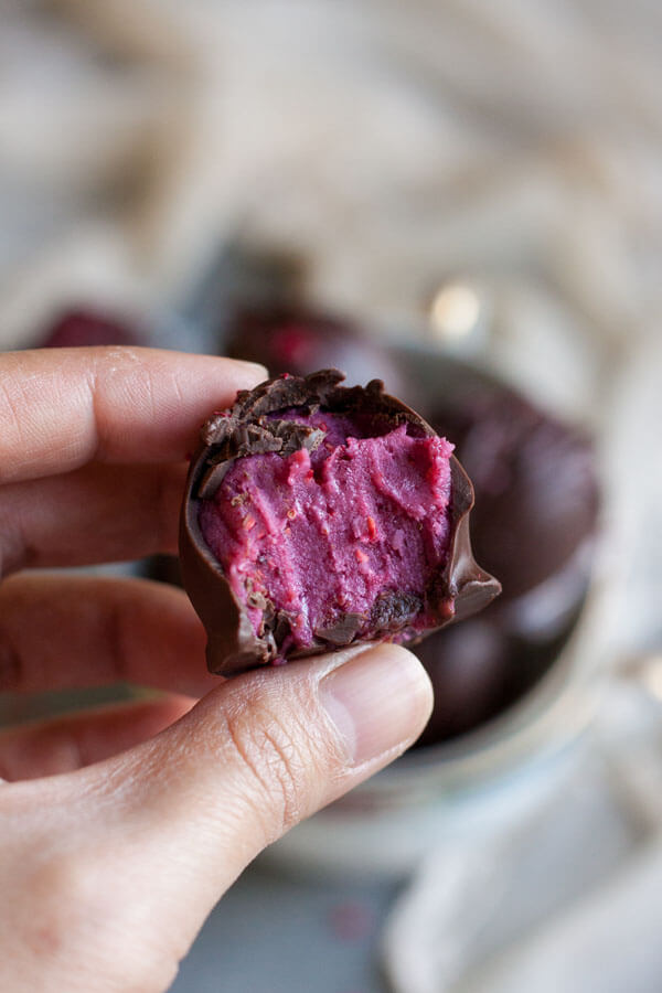 The inside of a Raspberry Chocolate Truffle