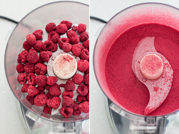 Freeze dried raspberries processed to a fine powder in a food processor to make raspberry truffles