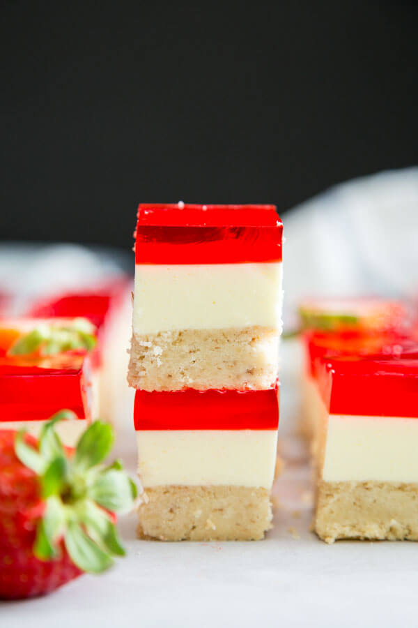 A stack of two Strawberry Jello Dessert Bars