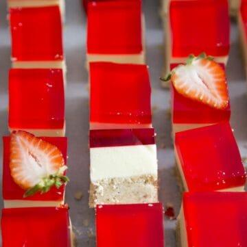 Strawberry Jello Dessert Bars cut into squares