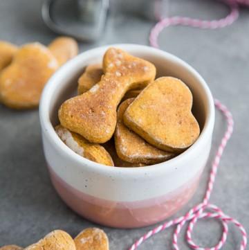 Sweet Potato Dog Treats in a small bowl