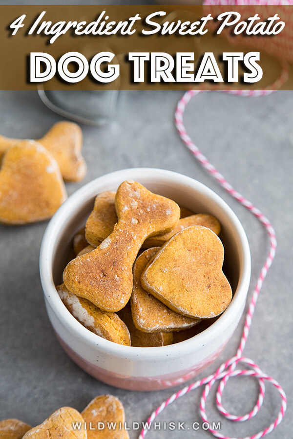 These easy homemade Sweet Potato Dog Treats are made with gluten free flour and baked in the oven until crunchy, a healthy snack recipe to spoil your pups with. #wildwildwhisk #dogtreats #dogtreatrecipes #dogbiscuits #dogbiscuitsrecipes #dogrecipes #cookingfordogs #dogtreatrecipe #dogs #diydogtreats #diydogbiscuits