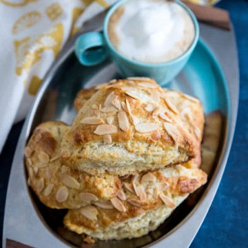 Almond scones on a serving plate